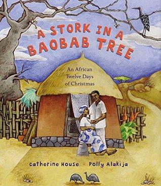 Una cigüeña en un árbol de baobab: un africano 12 días de la Navidad